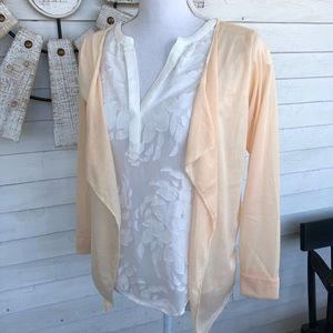 NEW! Soft Peach Waterfall Open Front Cardigan